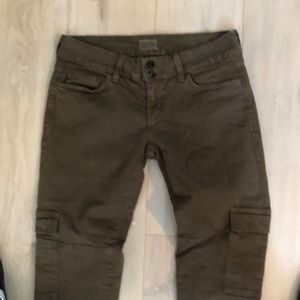Hudson 29 army green double button cargo jeans